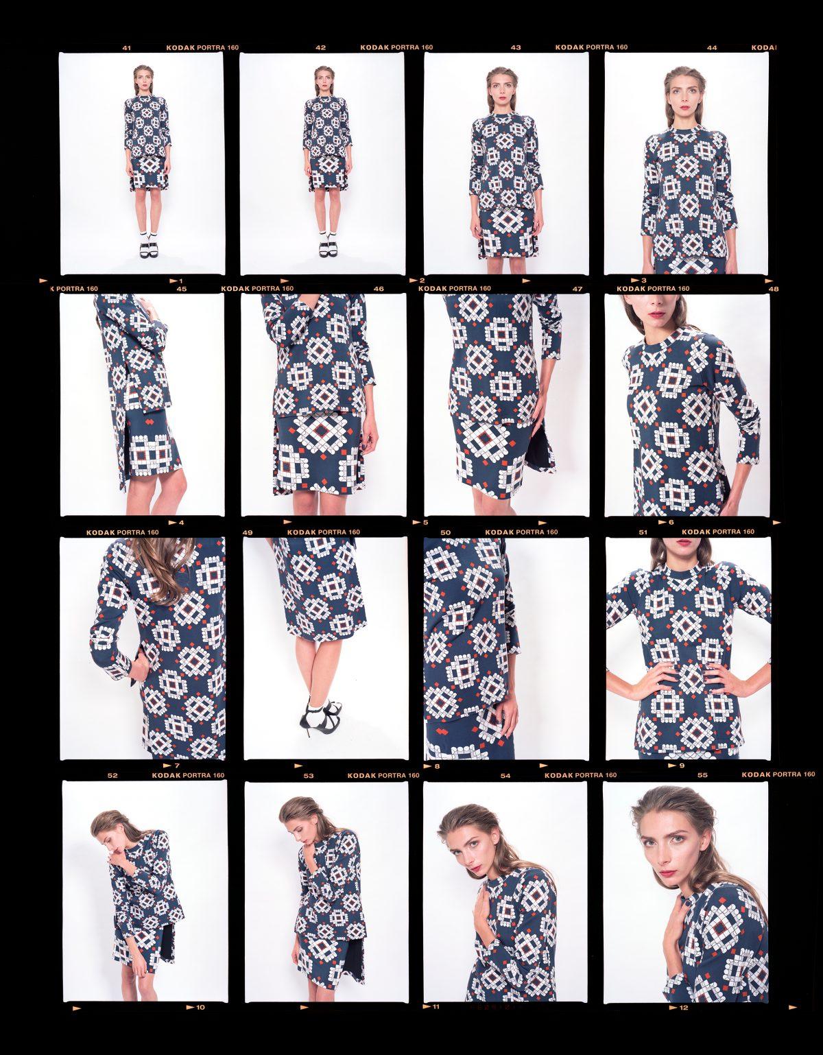 Diametric Circle Long Sleeve T _ Navy + Orange & Diametric Circle Mini Skirt _ Navy + Orange _ Riachi Studio Collection 001