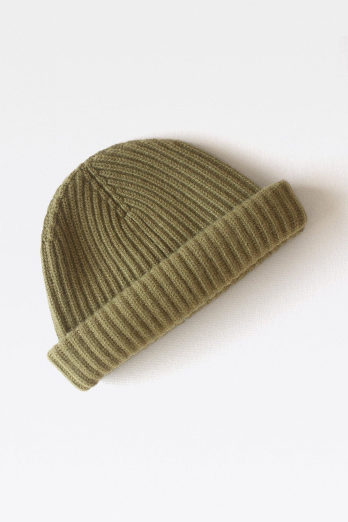 100% Pure Luxury Cashmere Wool Knit Beanie with Cardigan Stitch Ribbed - Made In Scotland - Algae Green - Collection 001 - Riachi Studio