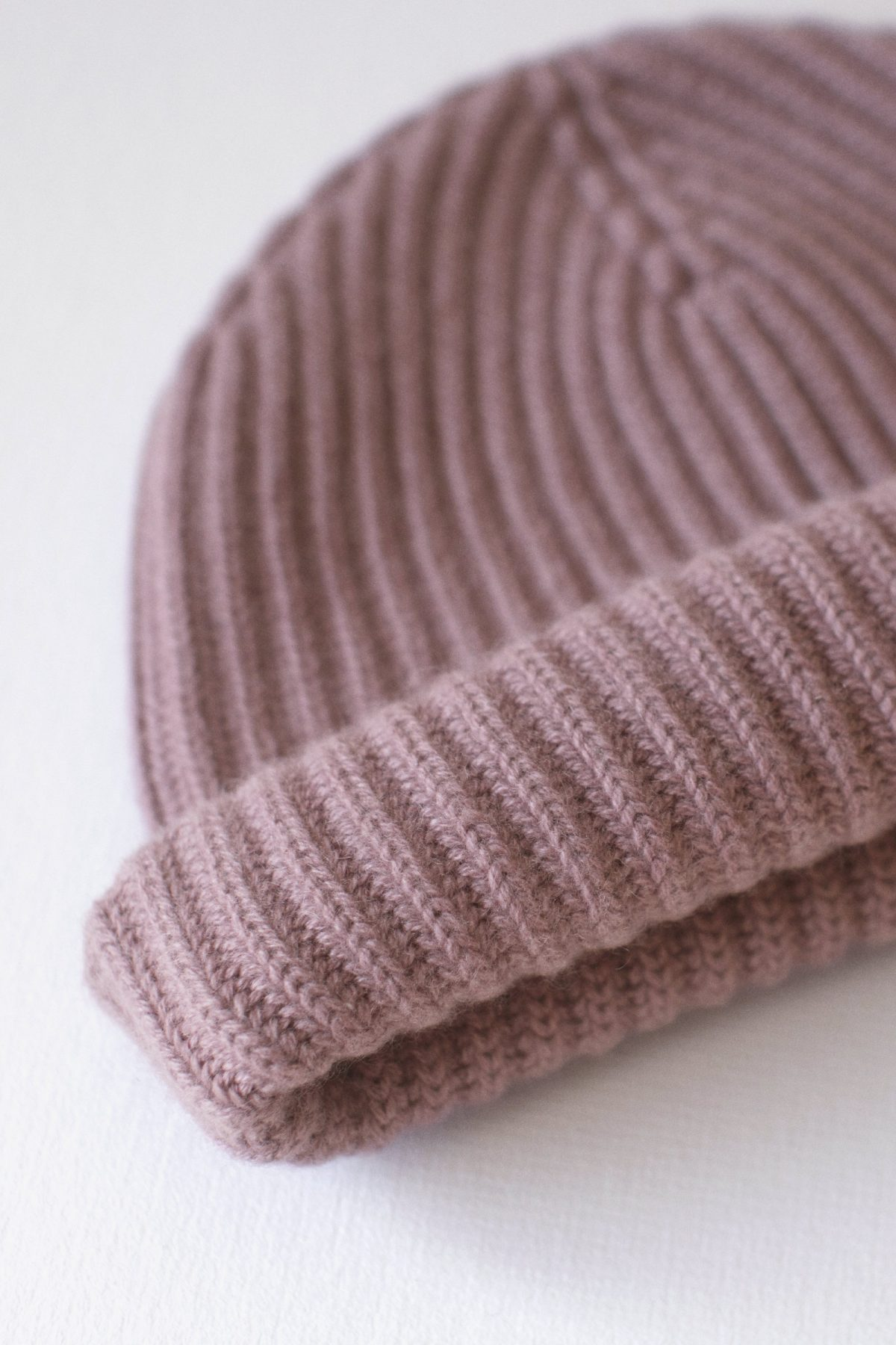 100% Pure Luxury Cashmere Wool Knit Beanie with Cardigan Stitch Ribbed - Made In Scotland - Dusk Pink - Collection 001 - Riachi Studio