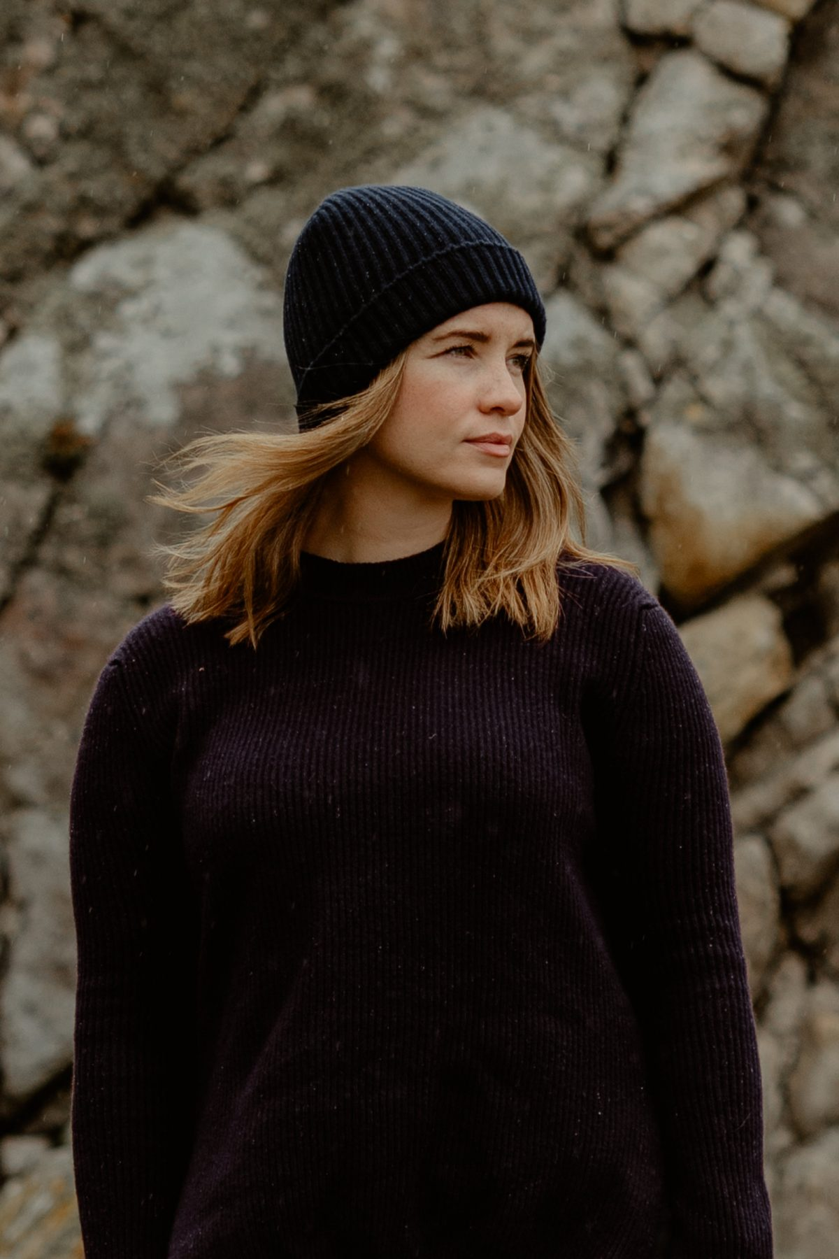 100% Pure Luxury Cashmere Wool Knit Beanie with Cardigan Stitch Ribbed - Made In Scotland - Navy Blue - Collection 001 - Riachi Studio